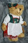 Bear girl with bavarian style costume  ± 30 cm